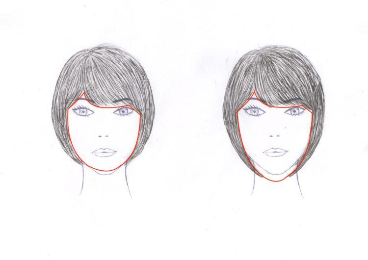 ショートボブの長さによる顔の輪郭の見え方の違い