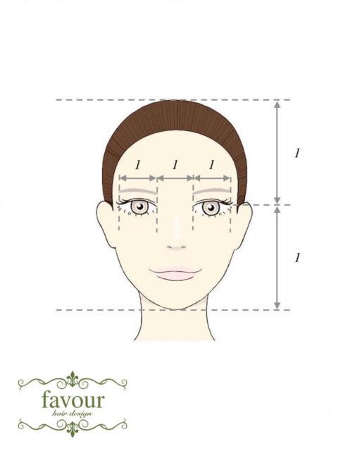 美人の黄金比 目と目の間の間隔は1:1:1 頭頂部から顎先までのちょうど半分に黒目が来る