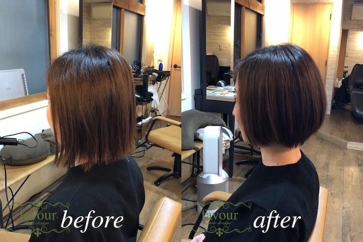 毛先ツンツンストレートを縮毛矯正で丸みを戻す ショートボブの縮毛矯正