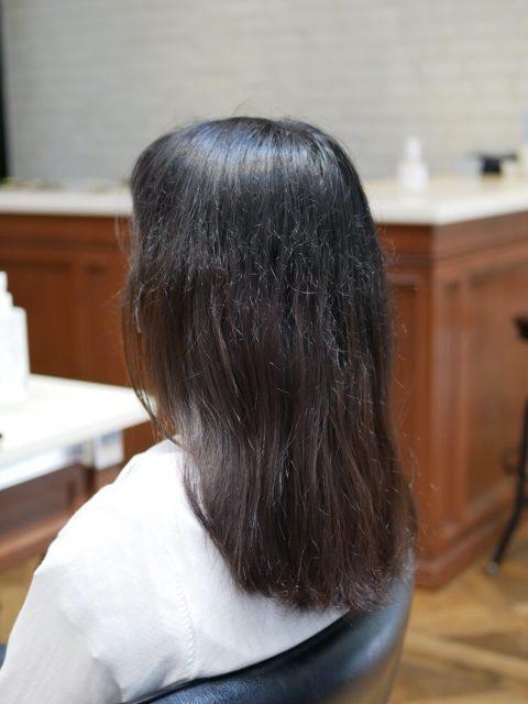 宿毛矯正をかけて1年後の状態、湿気でチリチリとした印象になっている