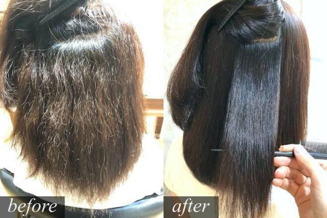 青山・表参道 ダメージ毛の縮毛矯正 アイロンなしの仕上がり 髪質改善